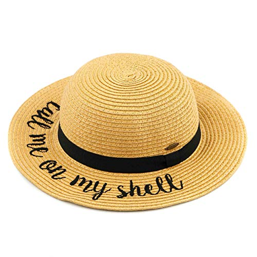 C.C Straw Embroidered Lettering Floppy Brim Sun Kids Hat (KIDS-2017) (Call Me on My ()