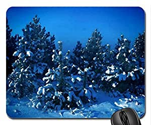 winter trees Mouse Pad, Mousepad (Winter Mouse Pad, Watercolor style) by runtopwell