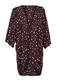 Womens Burgundy Leopard Cheetah Print Kimono Cardigan Duster – Size Large