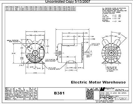 2 HP SPL 3450 RPM M56 Frame 115/230V Air Compressor Motor - Century