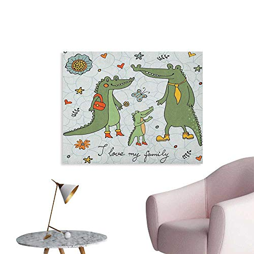 Anzhutwelve Family Wall Sticker Decals I Love My Family Theme Cute Hand Drawn Alligators Natural Background Fun Graphic Space Poster Multicolor W36 xL32