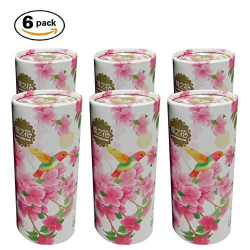 (Car Tissues, Ultra Soft Disposable Facial Tissues Cylinder, 120 Count (6 Pack), Gentle and Durable, Design Friendly for Car Use and Home Use (Sakura & Bird))