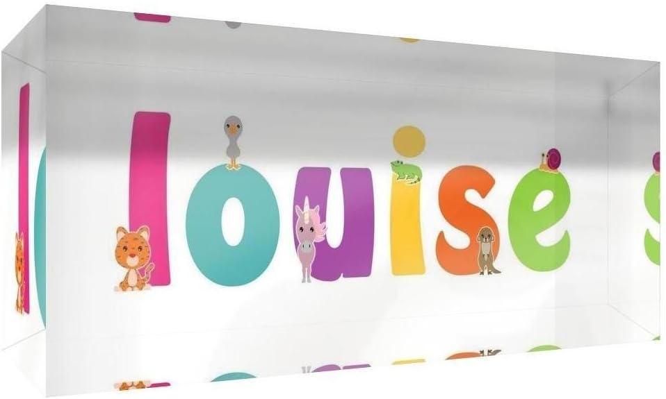 Little Helper Souvenir D/écoratif en Acrylique Transparent Poli comme Diamant Style Illustratif Color/é avec le Nom de Jeune Fille Louise 5 x 15 x 2 cm Petit