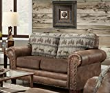 American Furniture Classics Deer Teal Lodge Tapestry Loveseat, Deer Teal Tapestry