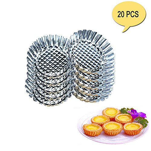 Tin Tart Mold (Egg Tart Mold Stainless Steel Cupcake Baking Mold Reusable Metal Muffin Baking Cups Fruit Tart Molds Tartlets Pans Tins 20 Pack)