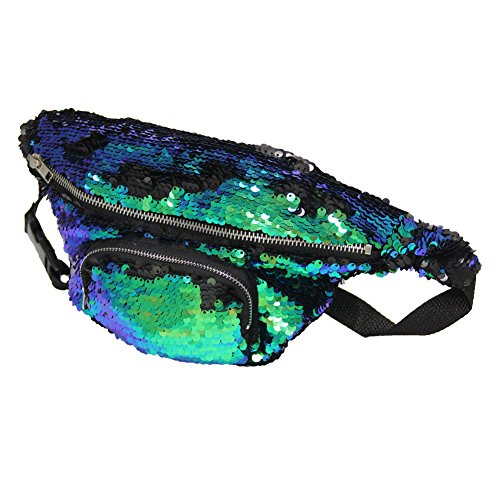 Pouch Reversible Sling - Play Tailor Mermaid Fanny Pack, Reversible Sequins Sling Bag and Waist Pack for Party, Running, Hiking, Sports (Fancy Green w/Black)