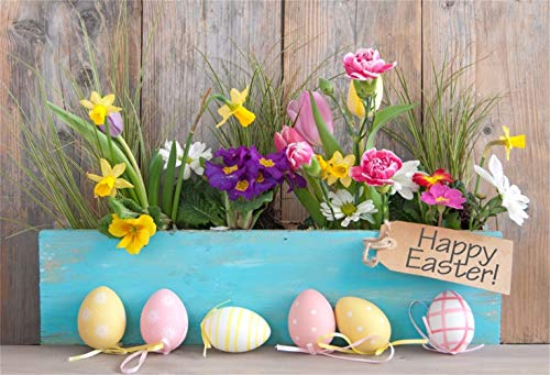 Laeacco 8x6.5ft Happy Easter Backdrop Vinyl Beautiful Flowers Blue Plank Easter Eggs Rustic Wooden Wall Background Child Baby Shoot Easter Egg Hunt Community Activities Party Banner Greeting Card
