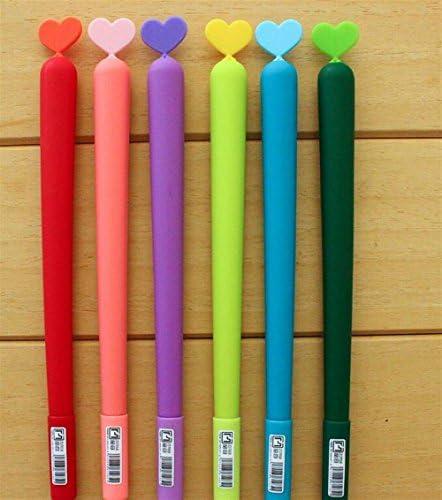 HuaQingPiJu-JP 3Pcs / Setハート型ゲルペンキットSimple Signing Pen学生ステーショナリー用品(ランダムカラー)