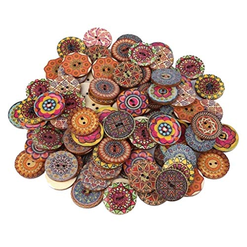 Simdoc 100 Pcs Mixed Color Wooden Buttons with 2 Holes Natural Round Shapes Retro Buttons, Vintage Flower Buttons for DIY Sewing Crafts