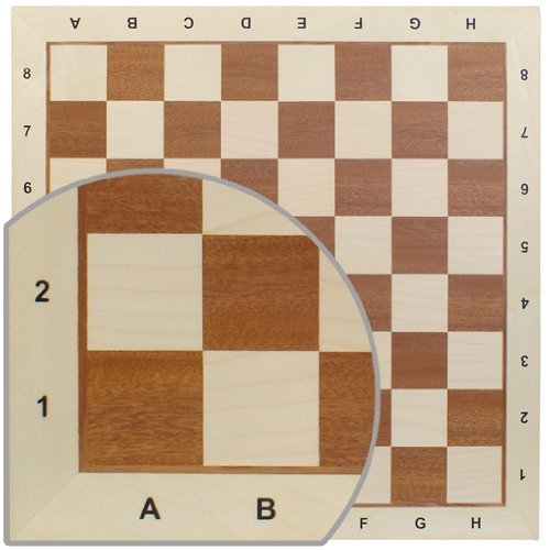 Chess Board No. 6 - Exact Detail and Lettering for Professional Tournament Use - Mahogany and Sycamore Wood ()