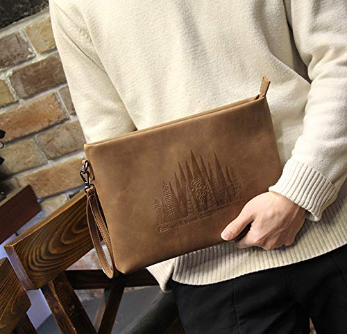 Handheld Casual Clutch Daypacks Large Zhrui Briefcase Brown Men's Handbag Capacity Organise Bag Envelope qUnxwZ0g