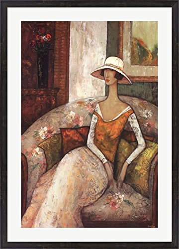 La Chaise Fleurie by Ludmila Curilova Framed Art Print Wall Picture, Espresso Brown Frame, 30 x 43 - Framed Fleuri