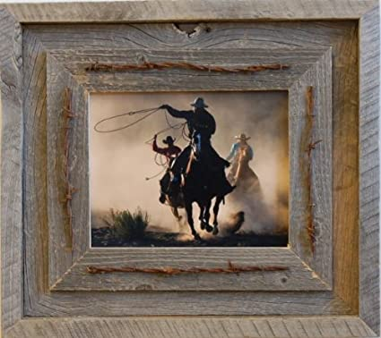 Amazon.com - Laramie 8x10 Barnwood and Barbed Wire Rustic Reclaimed ...