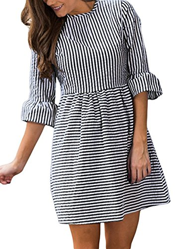 Sundress Seersucker (Famulily Women's Stripe Flounce Sleeve Seersucker Skater Dress(Large,Black))
