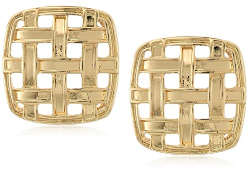Square Button Earrings (Napier Gold-Tone Square Button Post Stud Earrings)