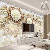Mznm European Style 3D Luxury Wallpaper Golden Flowers Soft Ball Jewelry Backdrop Wall Photo Mural Living Room Hotel Bedroom 3D Decor-120X100Cm