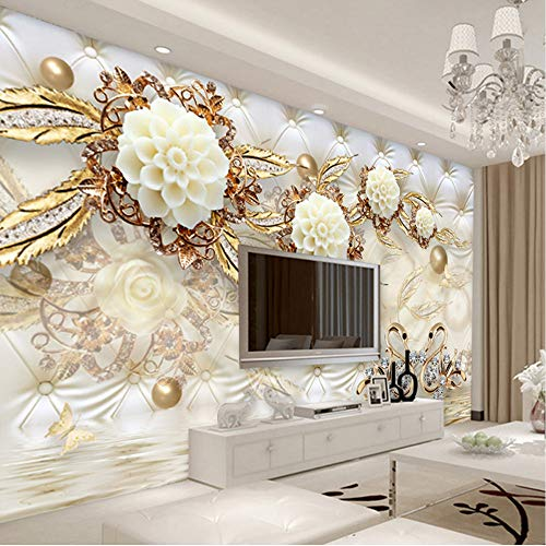 Mznm European Style 3D Luxury Wallpaper Golden Flowers Soft Ball Jewelry Backdrop Wall Photo Mural Living Room Hotel Bedroom 3D Decor-120X100Cm by Mznm