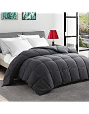 Queen/Full Size All Season Comforter - Dark Grey Soft Quilted Down Alternative Breathable Duvet Insert with 8 Corner Tabs 3D Filling - Box Stitched(Dark Gray,88 x 88 Inches)