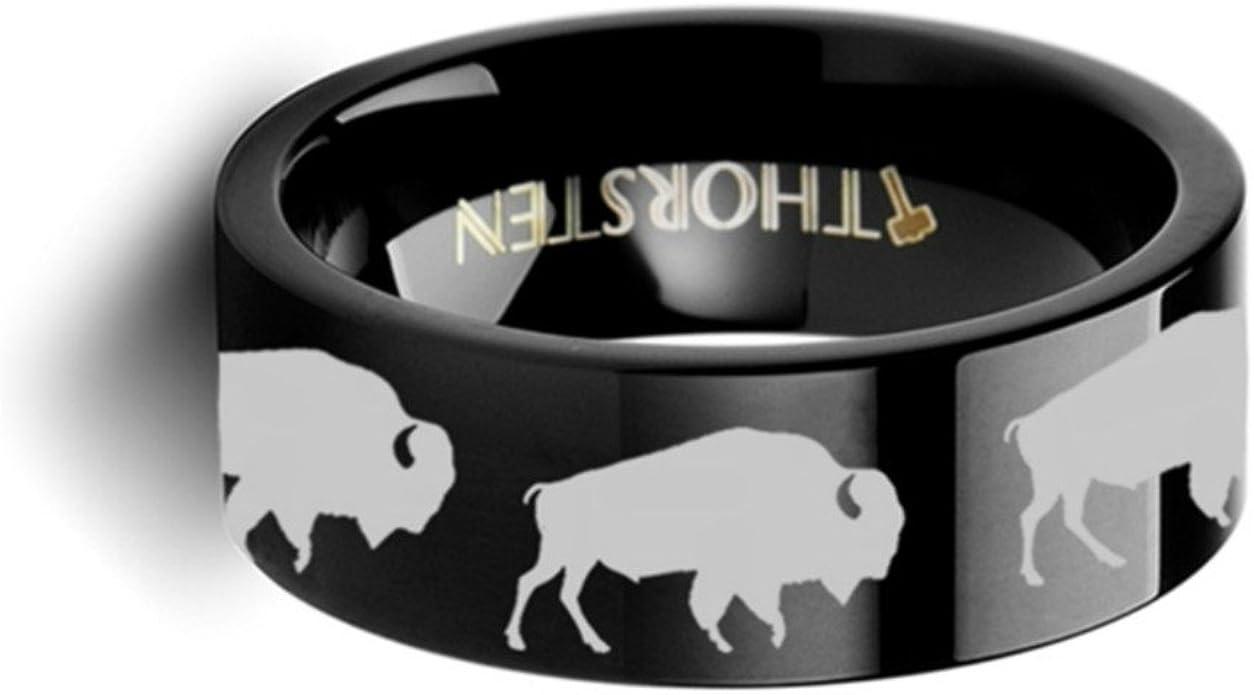 Thorsten Nature Animal Wildlife American Buffalo Bison Print Pattern Flat Black Tungsten Ring 10mm Wide Wedding Band from Roy Rose Jewelry