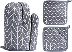 Win Change Oven Mitts and Potholders BBQ Gloves-Oven Mitts and Pot Holders with Recycled Cotton Infill Silicone Non-Slip...