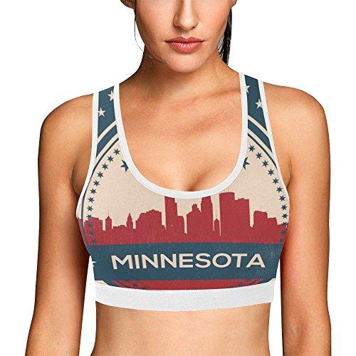 Lumos3DPrint Minnesota State Minneapolis Skyline Women's Sports Bra Workout Yoga (Minnesota Classic Blanket)