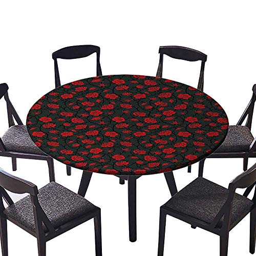 (The Round Table Cloth Black Rose Swirls Ivy Plants Dark Mysterious Forest Themed Pattern Charcoal Grey and for Birthday Party, Graduation Party 59