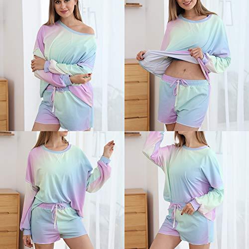 Womens Tie Dye Printed Short Lounge Set Off The Shoulder Shirt for Women Girls Long Sleeve Tops and Shorts 2 Piece Pajamas Set Sleepwear-Rainbow-XL