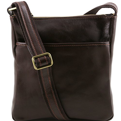 Tuscany Leather Jason Leather Crossbody Bag Dark Brown by Tuscany Leather
