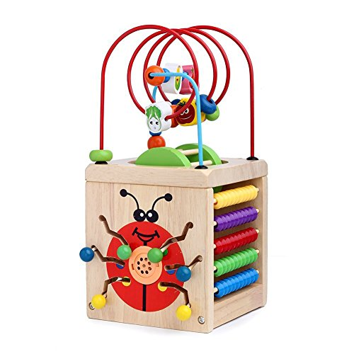 Play Maze - Sunshinetimes 7 in 1 Wooden Play Cube Activity Center Colorful Wooden Circle Bead Maze Educational Toy Set for Baby Kid