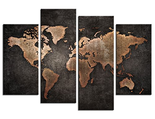 yearainn Wall Art Canvas Prints World Map Print on Canvas - Black Background Vintage Map Canvas Art - Old Map of The World Painting Pictures Artwork for Living Room Bedroom Interior Decoration