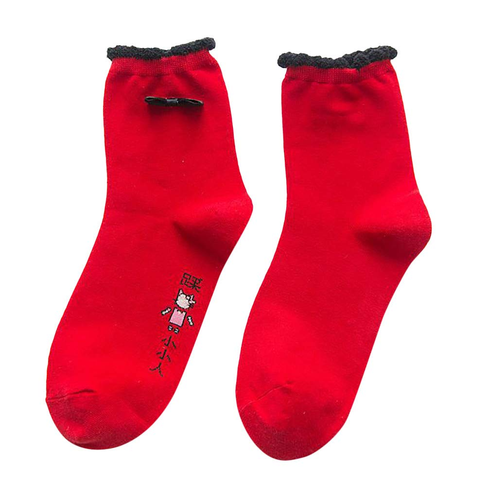 AKwell Winter Women Warm Red Cotton Socks Christmas Xmas Gift Fashion Red Combed Cotton Christmas Embroidered Socks