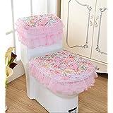 Lace Cloth Bathroom Toilet Decor 3-piece Tank Cover, Toilet Seat Cover Set Zippered Toilet Seat Cover Set (pink-1)