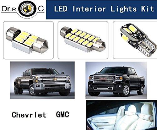 Dr.Roc Brightest LED Interior Lights Kit For Chevrolet Silverado Colorado Suburban Tahoe GMC Yukon Pure White 18 PCS(Map Lights,Dome Lights, Vanity Lights,Cargo Lights,License Plates Lights)