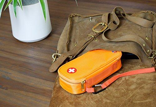 PracMedic- Epipen Carrying Case or Insulin Case - Premium Quality with YKK Zipper - fits Epi Pens, generic Benadryl, Asthma Inhaler, Nasal Spray, Eye Drops, Syringes, Vials, Ice Packs - Orange by PracMedic Bags (Image #4)