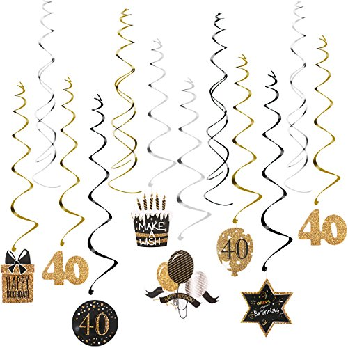 Unomor 40th Birthday Decoration with Hanging Swirls (15PCS), Celebrate 40 Hanging Swirls with Cutouts(8PCS), Table Décor Star Confetti (100 PCS)and 40th Confetti (100 PCS ) for Party Supplies Cut Out Swirl