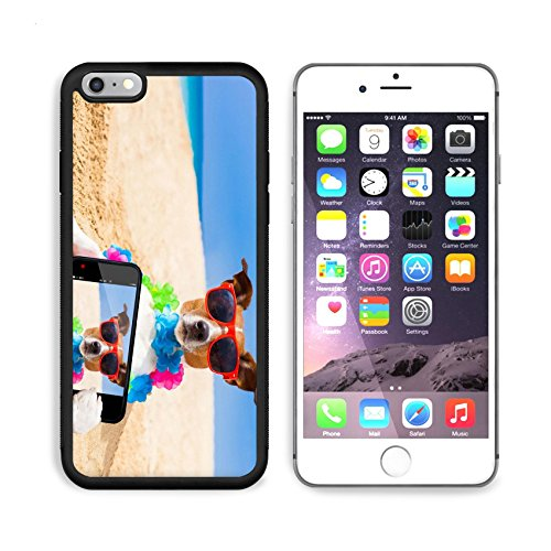 Liili Premium Apple iPhone 6 Plus iPhone 6S Plus Aluminum Backplate Bumper Snap Case iPhone6 Plus IMAGE ID: 32315958 dog at the beach with a flower chain at the ocean - Bieber Sunglasses
