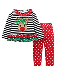 SUPEYA Toddler Baby Girls Deer Striped Tops+Dot Pants Dress Christmas Outfits Set