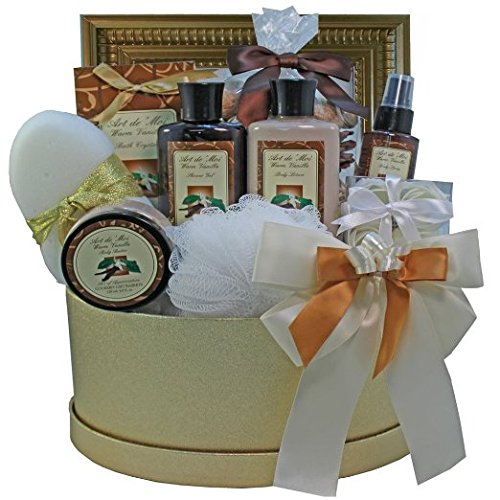 Sophisticated Luxury Warm Vanilla Spa Bath and Body Gift Basket Set (New Mother Gift Basket Ideas)