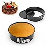 GANJOY 9 Inches Cake Pan Leakproof Springform Pan with Quick Release Latch and Removable Bottom - Round