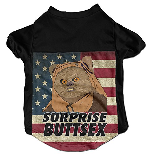 [Ewok Surprise Buttsex Spoof Costumes, Clothing, Shirt, Vest, T-shirt, Puppy Pet Dog Cat Fashion 100% Polyester Fiber Tee Gift For Any Animal Fan Lovers Black] (Star Wars Dog Costumes Ewok)