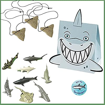 Shark Party Favors for 12 - Shark Tooth Toy Necklaces (12), Shark Toy Figures (12), Shark Boxes and a Birthday Sticker