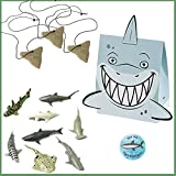 shark party favor box - Shark Party Favors for 12 - Shark Tooth Toy Necklaces (12), Shark Toy Figures (12), Shark Boxes and a Birthday Sticker