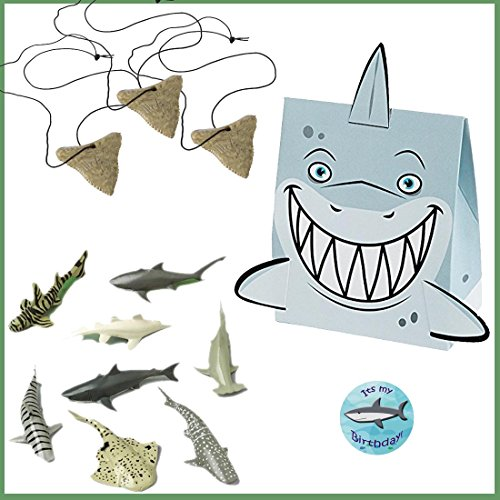 Shark Party Favors for 12 - Shark Tooth Toy Necklaces (12), Shark Toy Figures (12), Shark Boxes and a Birthday Sticker -
