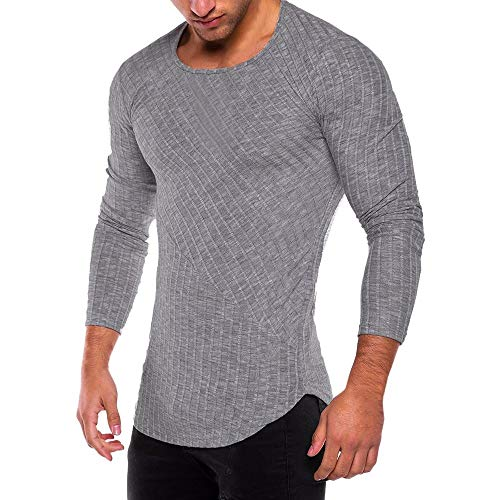 ◕‿◕ Toponly Mens Slim Fit O Neck Long Sleeve Muscle Tee T-Shirt Tops Blouse