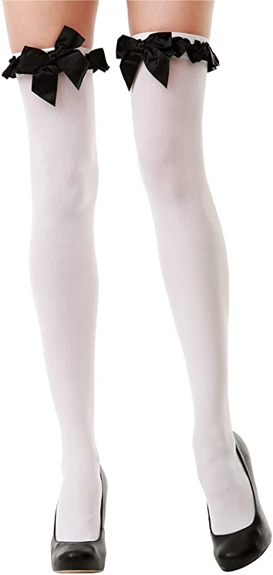 THIGH HIGH OPAQUE STOCKINGS WHITE WITH RED BOW