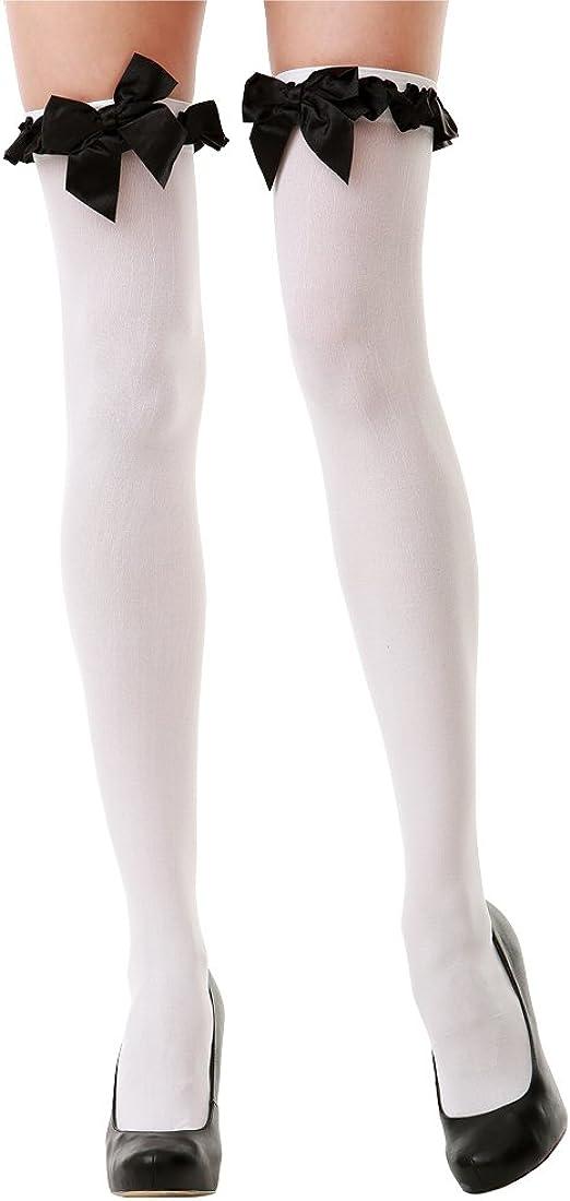 Stockings Nylon WHITE OPAQUE THIGH HIGHS WITH WHITE SATIN BOW STOCKING Adult