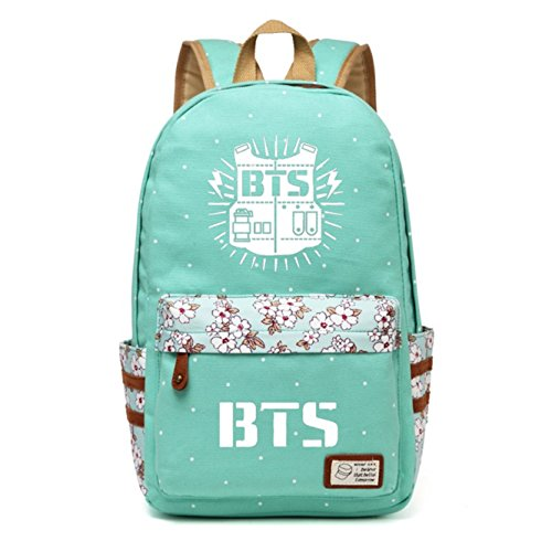 JUSTGOGO Korean Casual Backpack Daypack Laptop Bag College Bag Book Bag School Bag (Green 1)
