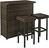Crosley KO70009BR 3-Piece Palm Harbor Outdoor Wicker Bar Set with Bar and Two Stools, Brown
