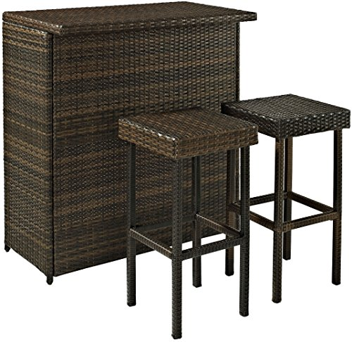 Crosley KO70009BR 3-Piece Palm Harbor Outdoor Wicker Bar Set (Large Image)