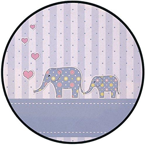Printing Round Rug,Elephant Nursery Decor,Baby Shower Theme Cheerful Newborn Celebration Pastel Toned Striped Mat Non-Slip Soft Entrance Mat Door Floor Rug Area Rug For Chair Living Room,Multicolor